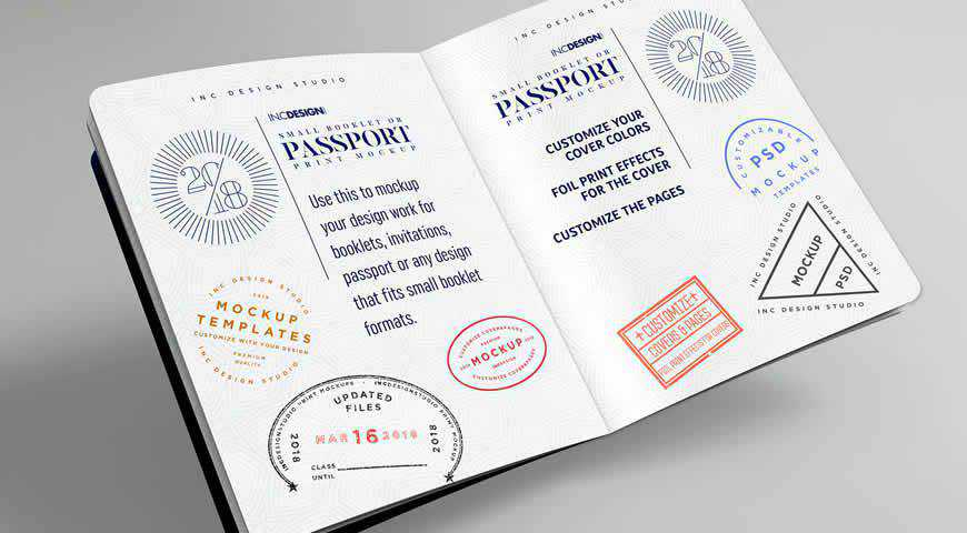 Photorealistic Passport Booklet Photoshop PSD Mockup Template