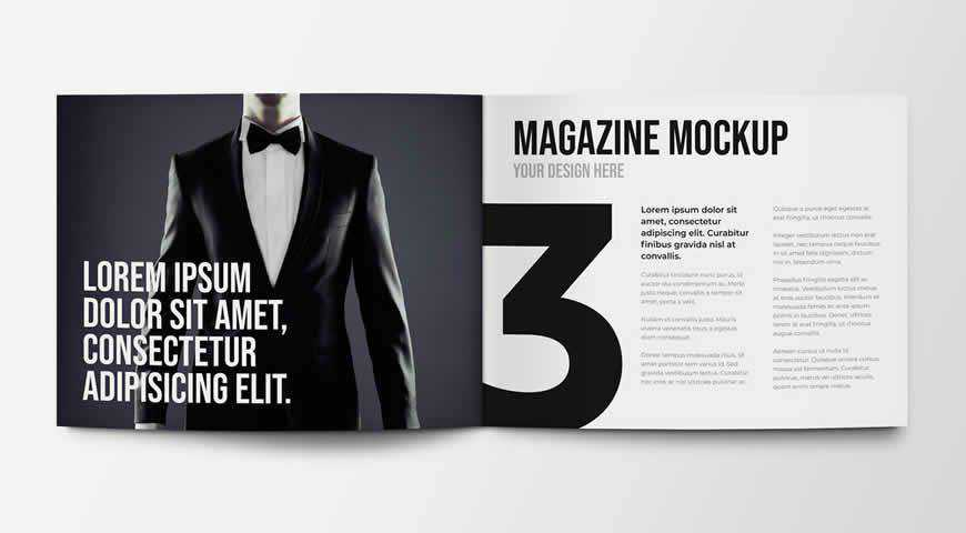 Open Closed Landscape Magazine Photoshop PSD Mockup Template