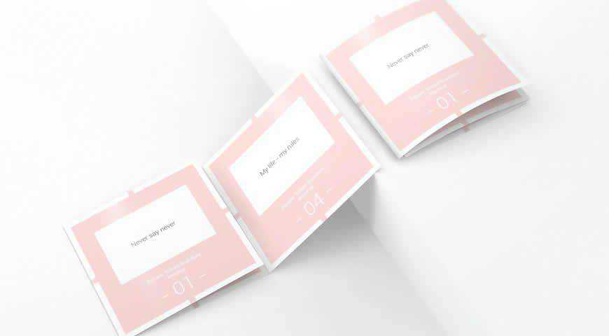 Square Trifold Brochure Photoshop PSD Mockup Template