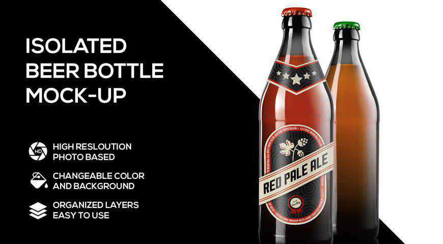 Beer Bottle Photoshop PSD Mockup Template