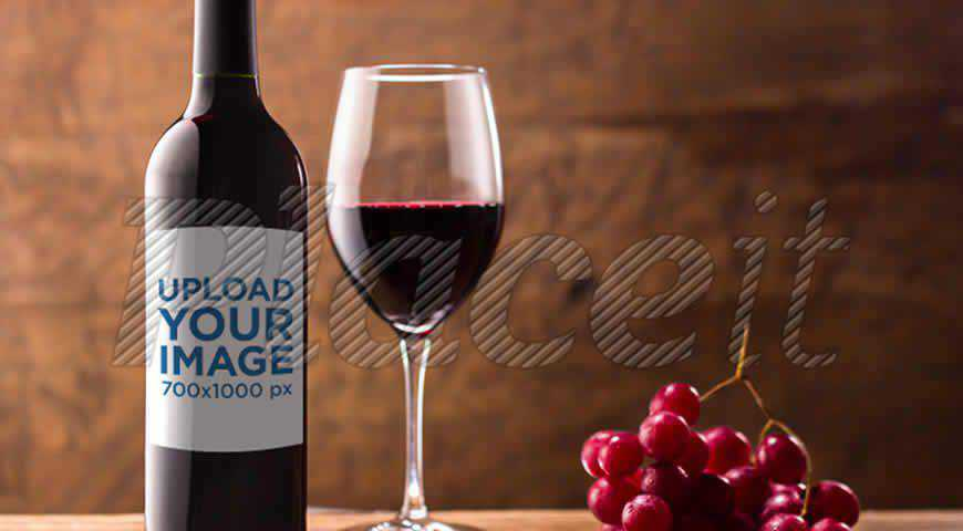 Red Wine Table Photoshop PSD Mockup Template