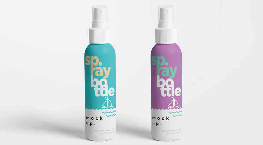 Plastic Spray Bottle Photoshop PSD Mockup Template
