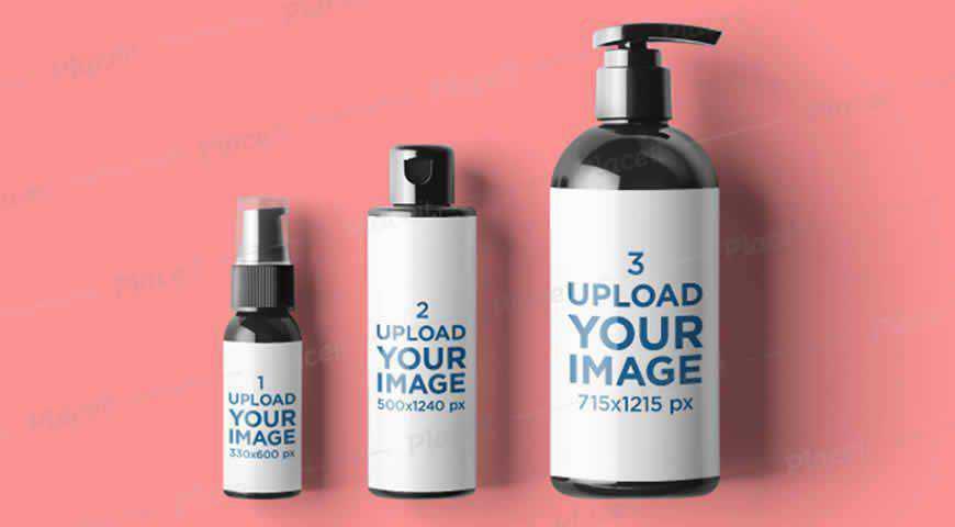 Minimal Cosmetic Bottles Photoshop PSD Mockup Template