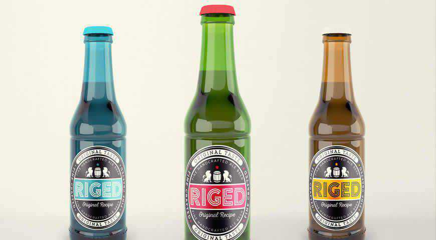 Realistic Beer Bottle Photoshop PSD Mockup Template