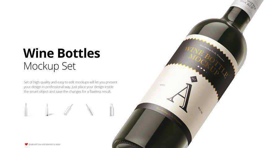 Wine Bottle Photoshop PSD Mockup Template