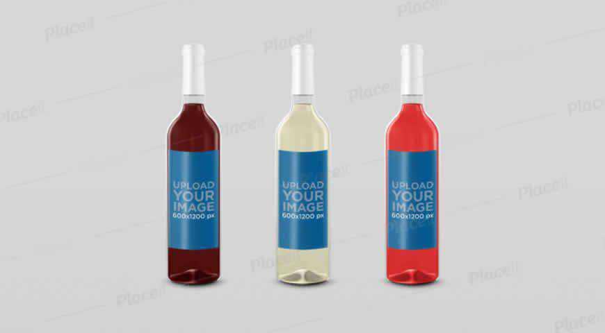 Wine Bottles Photoshop PSD Mockup Template