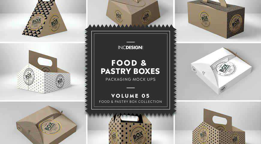 Food Pastry Boxes Carrier Photoshop PSD Mockup Template