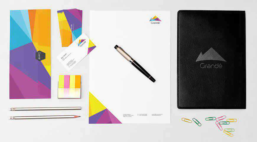 Colorful Stationery Branding Photoshop PSD Mockup Template