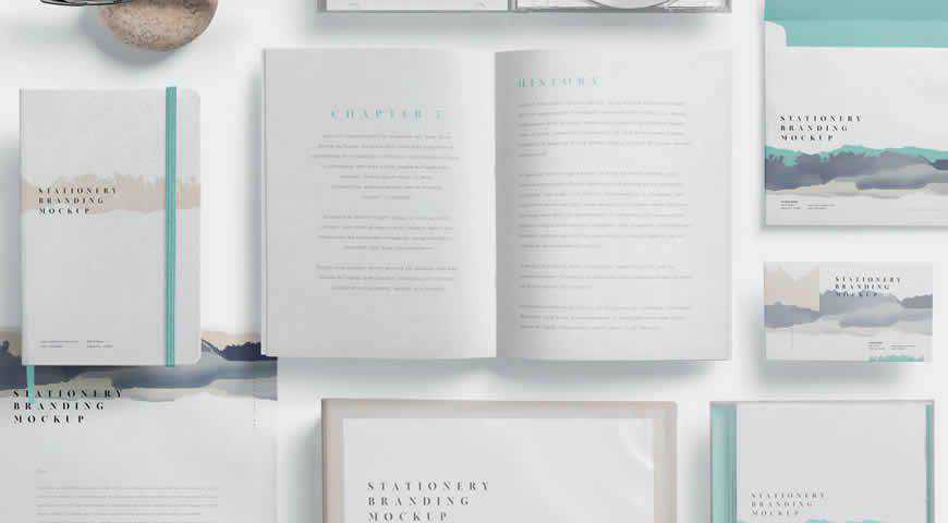Stylish Stationery Branding Photoshop PSD Mockup Template