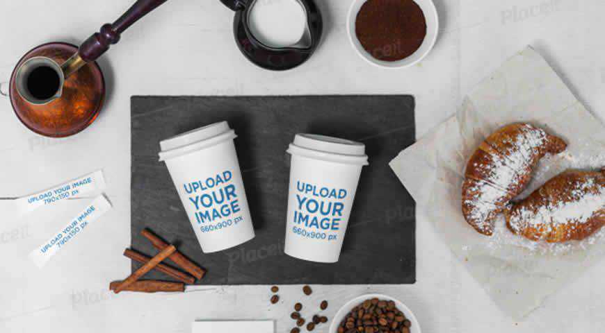 Coffee Cup Featuring Sugar Packets Business Cards Photoshop PSD Mockup Template