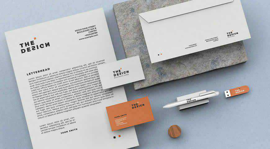 Minimal Stationery Branding Photoshop PSD Mockup Template