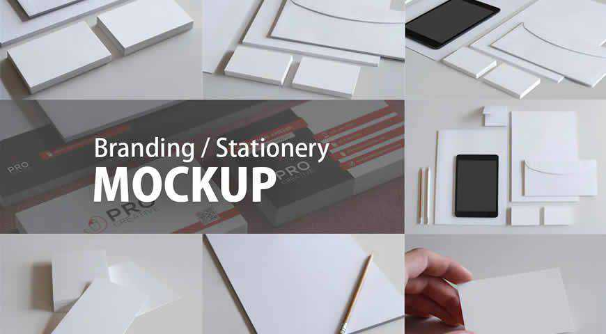 Multiple Blank Branding Stationery Photoshop PSD Mockup Template