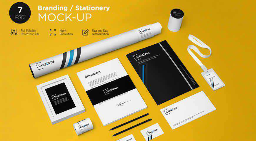 Branding Stationery Photoshop PSD Mockup Template