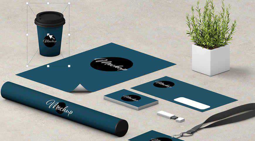 Stationery Set Scene Creator Photoshop PSD Mockup Template