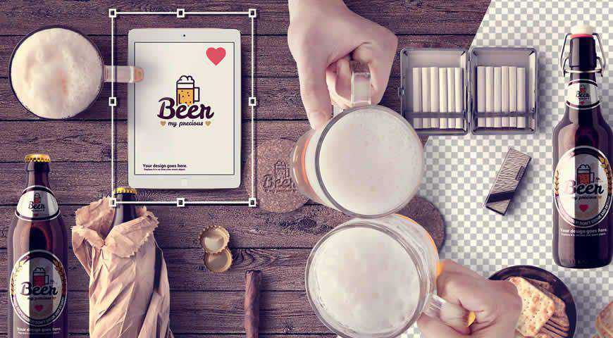 Mugs Table Beer Bottles Photoshop PSD Mockup Template