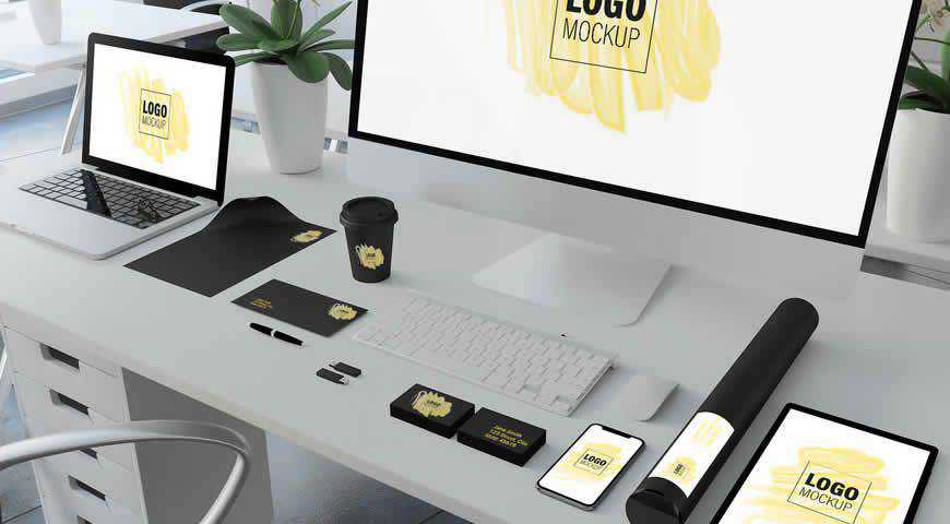 Corporate Identity Set Desk Photoshop PSD Mockup Template