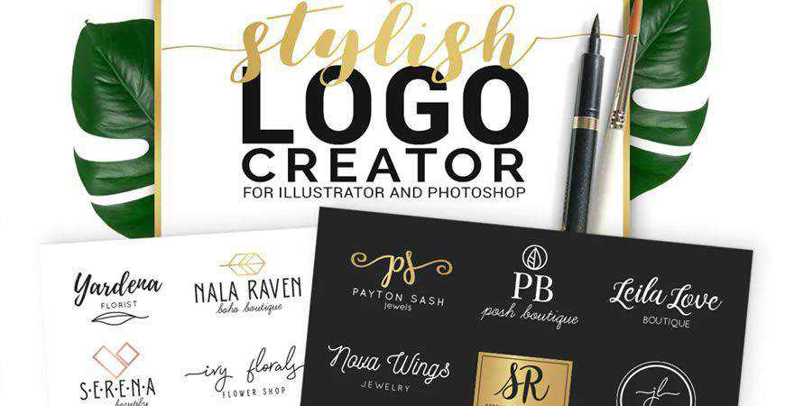 Stylish logo creator kit template