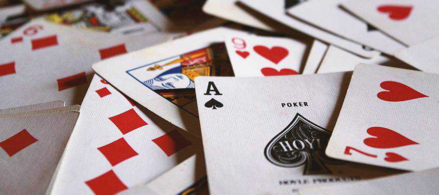 Playing cards on a table.