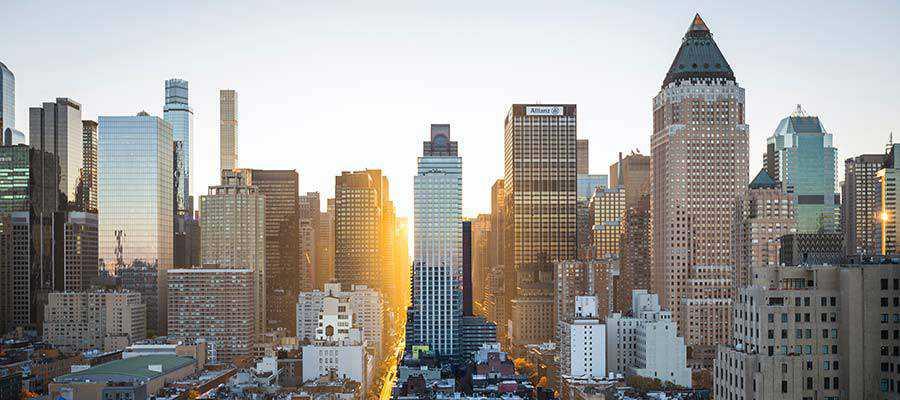 City skyline with tall buildings.