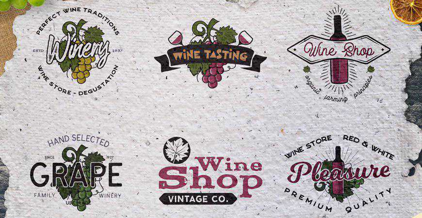 Winery Logo Templates Badges food drink eat
