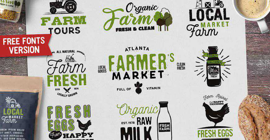 Organic Farm Logo Eco Food Retro Badges food drink eat