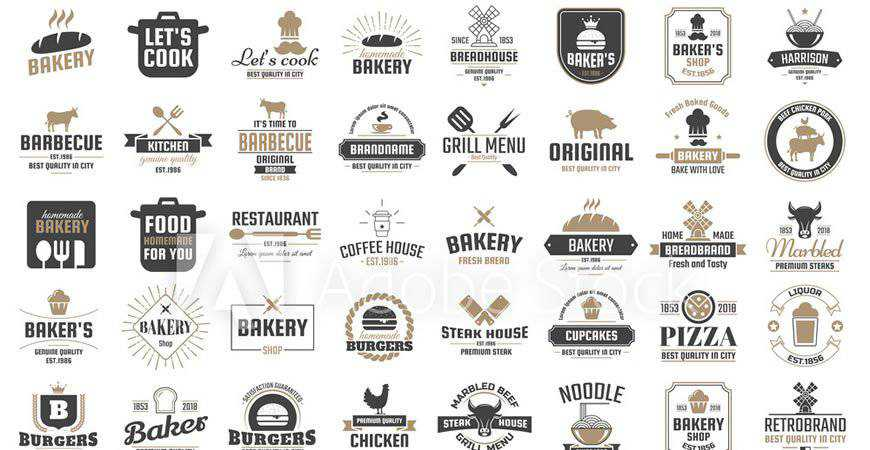 Retro Restaurant Vector Logo Templates food drink eat