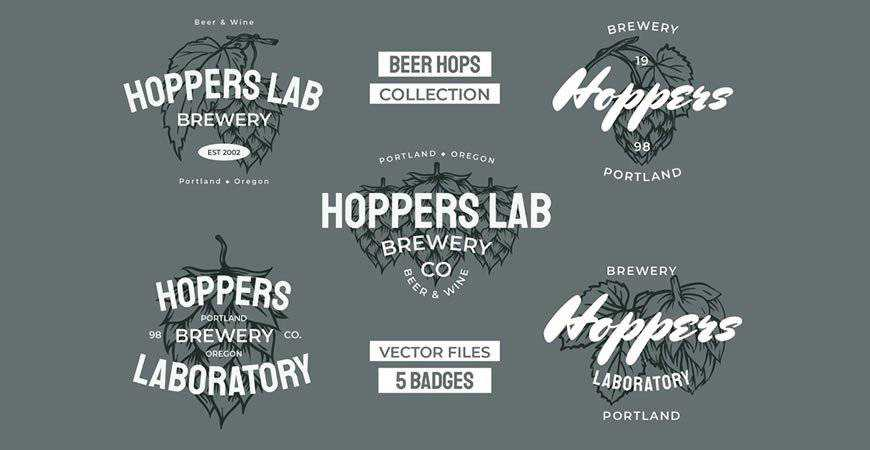 Beer Hops Multiply Badges Logos food drink eat