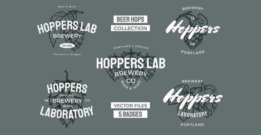 Beer Hops Multiply Badges Logos food drink eat