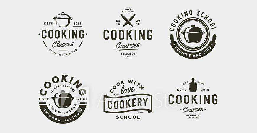 Vintage Cooking Classes Logo Templates food drink eat