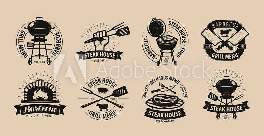 Barbecue Grill Logo Templates food drink eat