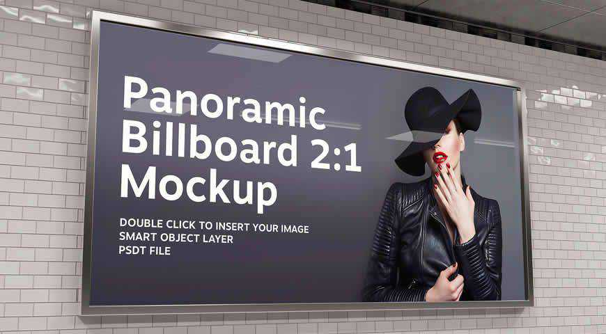 2:1 Aspect Ratio Panoramic Billboard Photoshop PSD Mockup Template