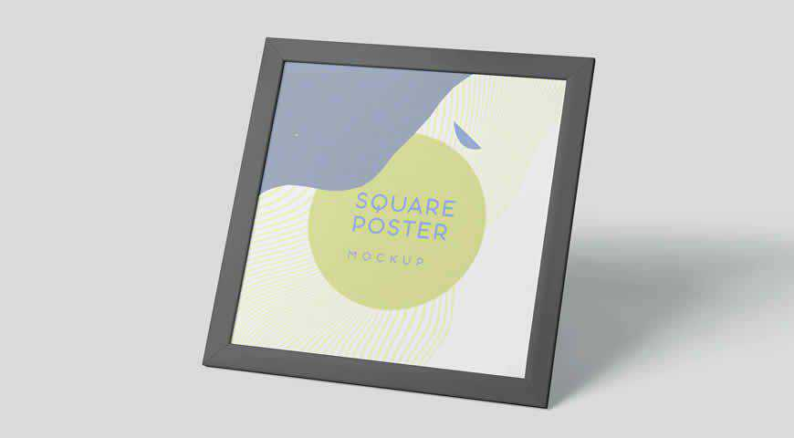 Square Poster Frame Photoshop PSD Mockup Template