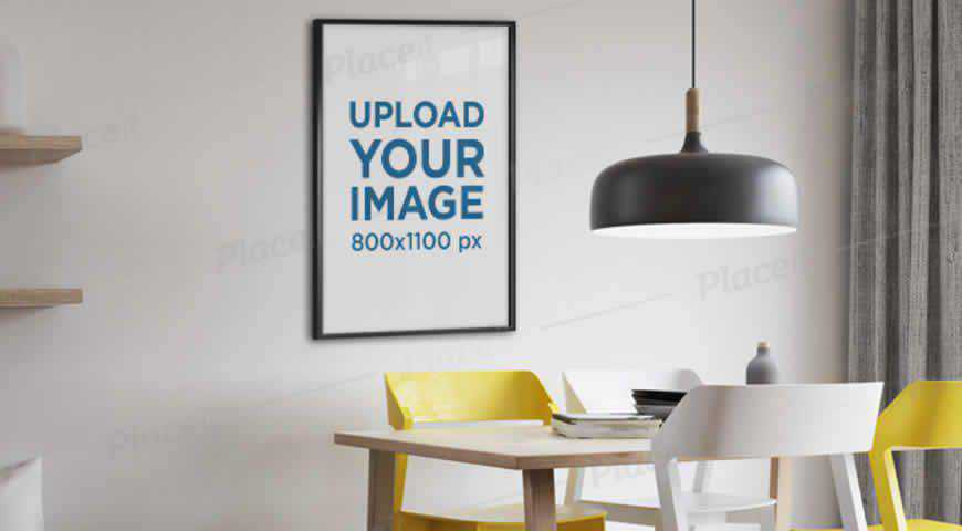 Poster Frame Hanging on Living Room Wall Photoshop PSD Mockup Template