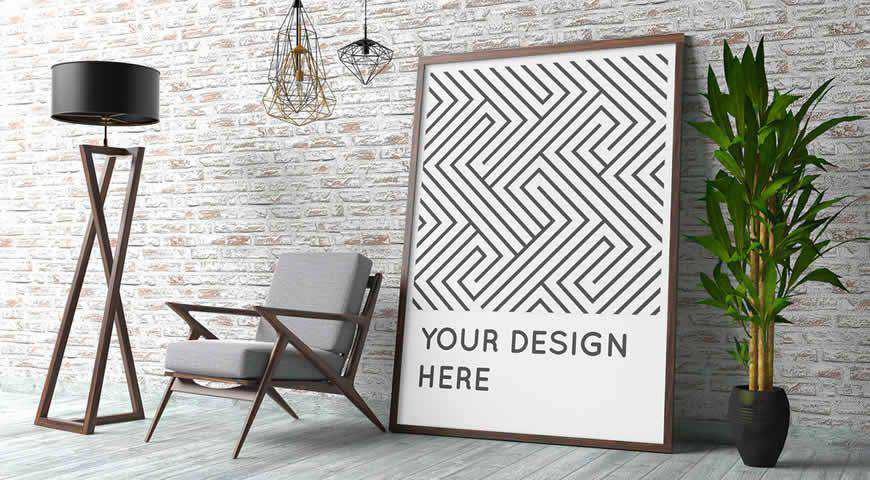 Poster Mockup with Contemporary Interior Photoshop PSD Mockup Template
