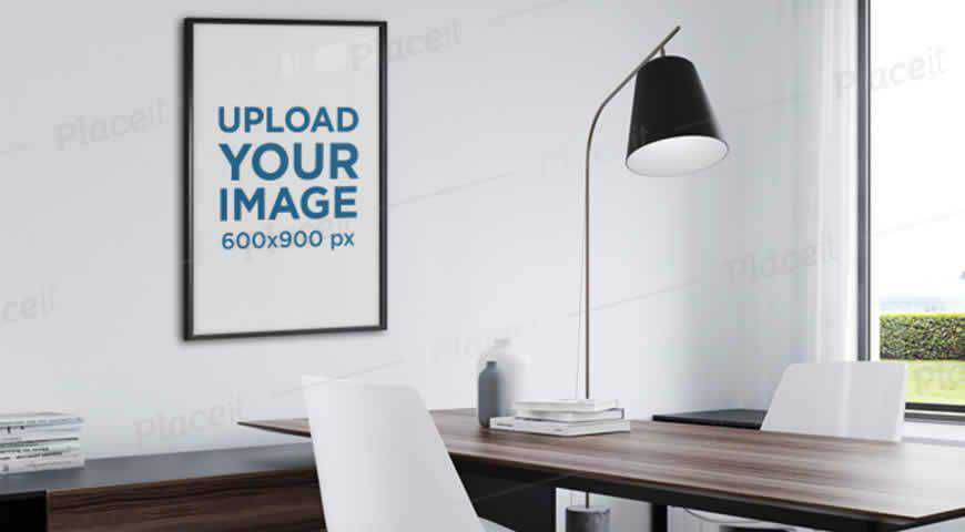 Art Print in a Small Office Photoshop PSD Mockup Template