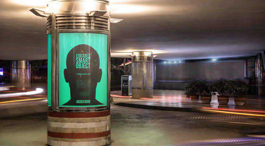 Urban Poster-Billboard Mock-Ups Night Edition Photoshop PSD Mockup Template