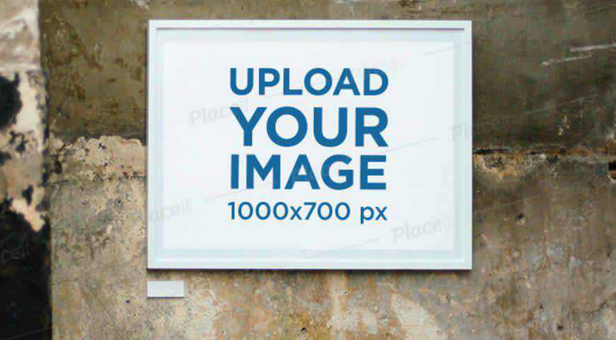 Horizontal Poster Frame on an Old Wall Photoshop PSD Mockup Template