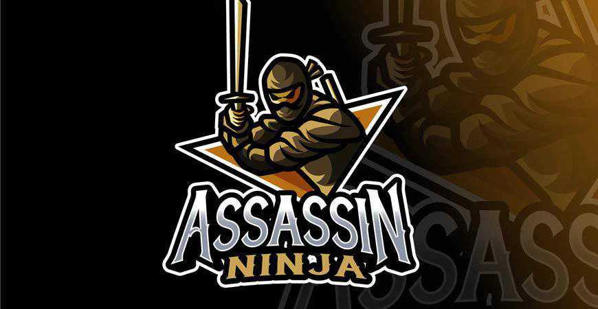 Ninja Assassin Logo Template gamer video game