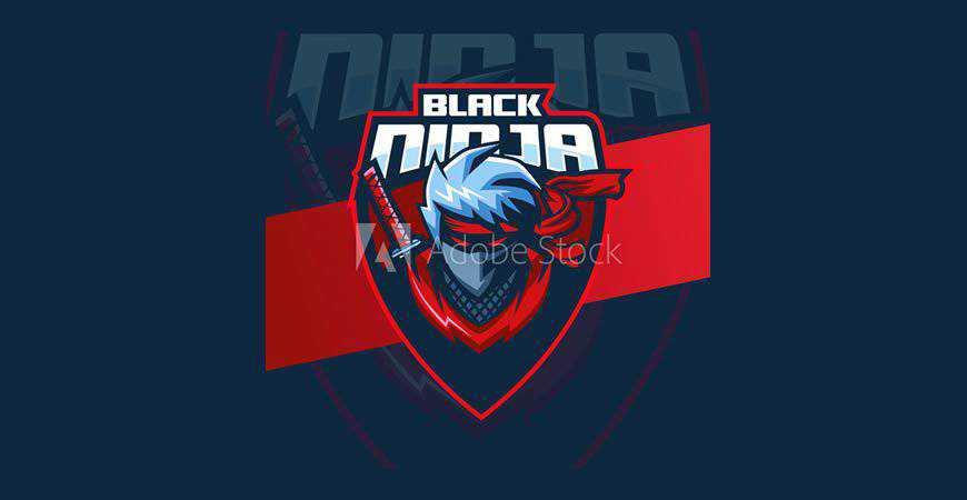 Black Ninja Mascot Logo Template gamer video game