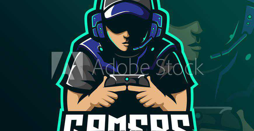 Gamer Mascot Logo Template video game