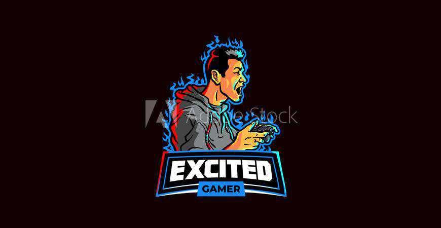 Excited Gamer eSport Team Logo Template gamer video game