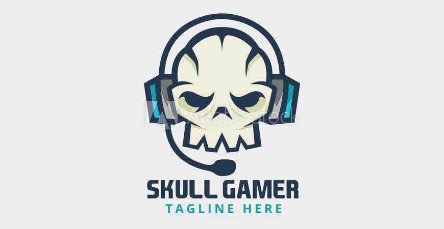 Skull Gamer with Headphones Logo or Mascot Template gamer video game