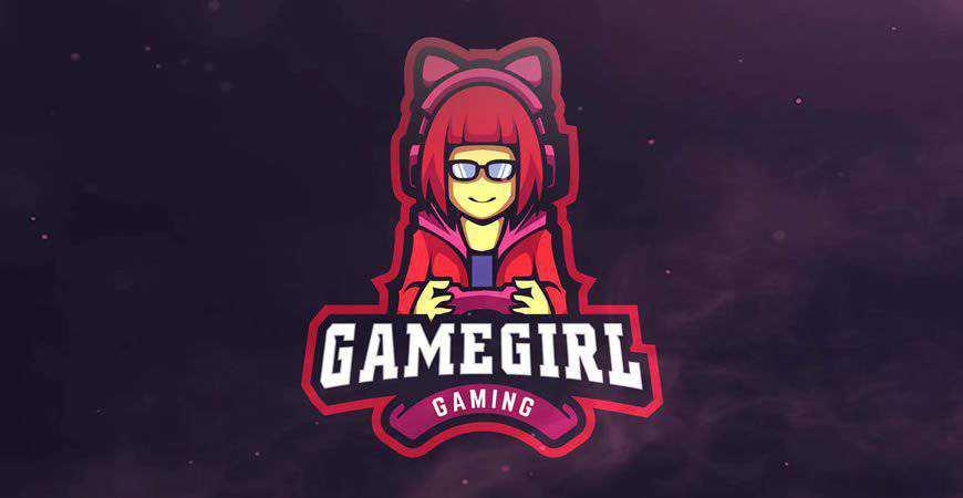 Game Girl Gaming Logo Template gamer video game