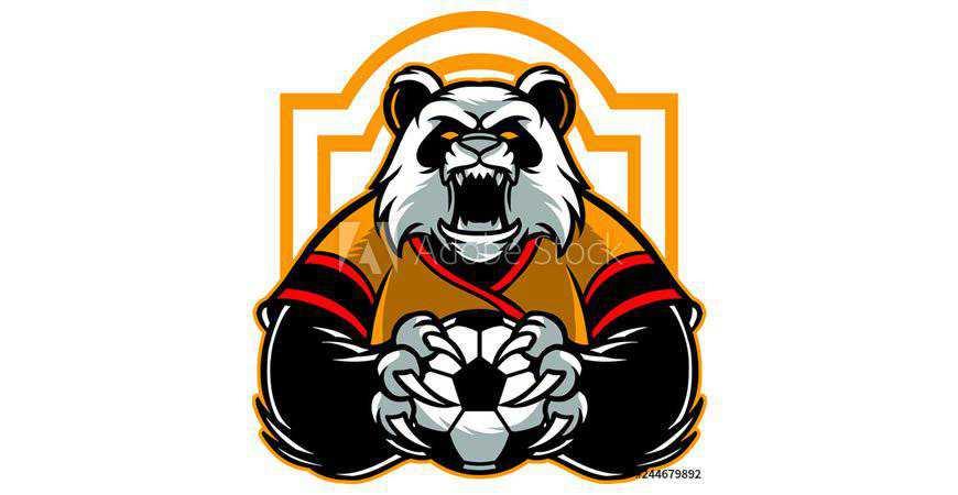 Panda Soccer Logo Template gamer video game