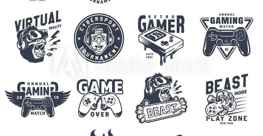 Vintage Monochrome Gaming Logo Templates gamer video game