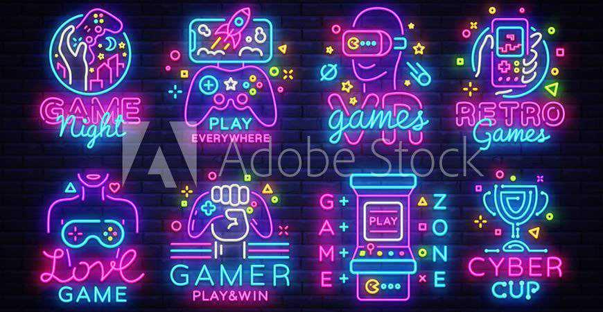 Neon Video Game Logo Template gamer video game