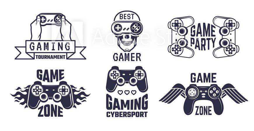 Video Gaming Logo Template Set gamer video game