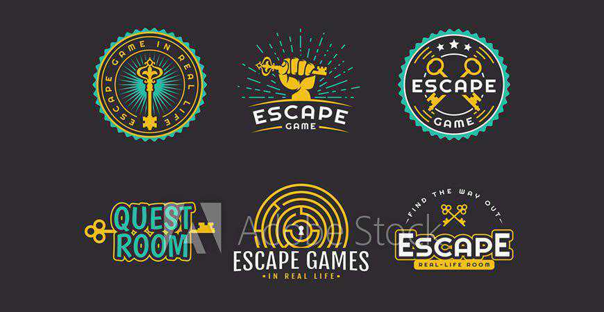 Quest & Escape Room Logo Template gamer video game