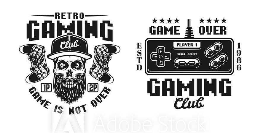 Retro Gaming Club Logo Templates gamer video game