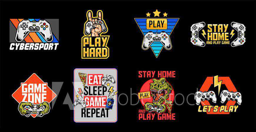 Collection of Video Game Logo Templates gamer video game